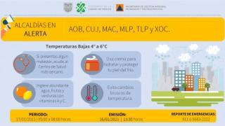 SE ACTIVA ALERTA AMARILLA POR PRONÓSTICO DE TEMPERATURAS BAJAS
